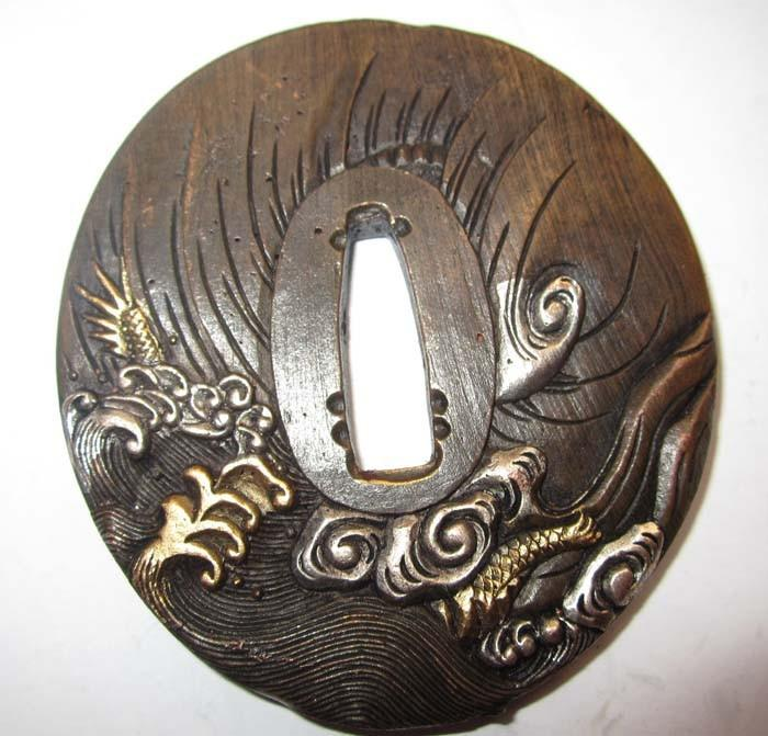 Rare Top Signed Tsuba Solid Copper Japanese Samurai Sword Katana