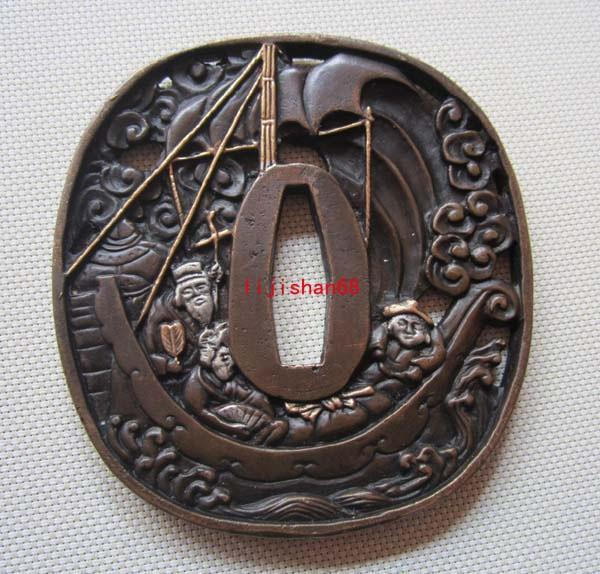 Tsuba/Ship,Fish/Good Copper Tsuba For Japanese Samurai Sword Katana T-30