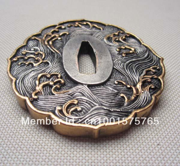 Wave Solid Copper Brass Tsuba For Japanese Samurai Sword Katana