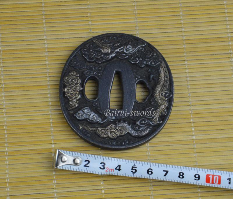 Cloud Dragon Carved Tsuba Guard For Japanese Katana Samurai Sword