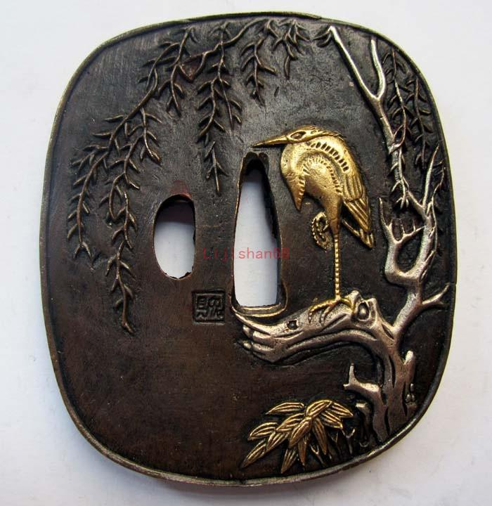 Exquisite Tsuba/Bird/Solid Copper Japanese Samurai Sword Katana