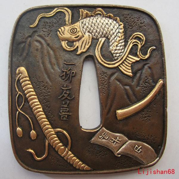 Tsuba/Fish Exquisite,Copper,Brass,Japanese Samurai Sword